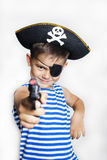 Little boy 5-6 years old wearing a pirate costume. Stock Images