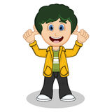 Little boy with yellow jacket and black trousers give thumb cartoon Stock Photos