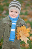 Little boy with yellow leaves Stock Photo