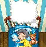 Little boy in yellow pajamas sleeping. Illustration Stock Photography
