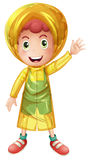 Little boy in yellow raincoat. Illustration Stock Photography