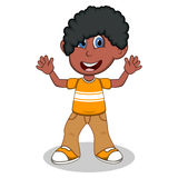 Little boy with yellow shirt and brown trousers waving his hand cartoon Royalty Free Stock Image
