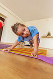 Little boy on a yoga class Royalty Free Stock Images