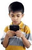 Little Boy Z telefonem komórkowym Obraz Stock