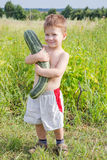 Little boy with zucchini on field Royalty Free Stock Image