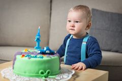 Little boyl celebrating first birthday Stock Photography