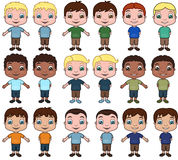 Little Boys. This is a vector illustration set of boys in a variety of ethnicities and hairstyles Royalty Free Stock Photo
