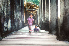 Little boys in Angkor Wat Royalty Free Stock Photos