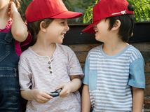 Little boys being silly concept royalty free stock photography