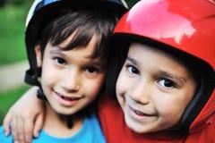 Little boys  with biking safety helmet Royalty Free Stock Photos