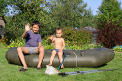 Little Boys at Boat Royalty Free Stock Photography