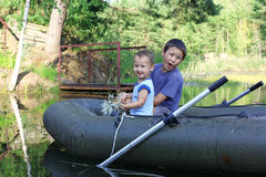 Little Boys Boating Stock Photo