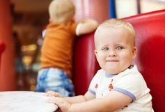 Little boys in cafe Stock Photography