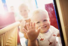Little boys in cafe Royalty Free Stock Photo