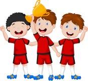 Little boys cartoon celebrate his trophy Stock Photos