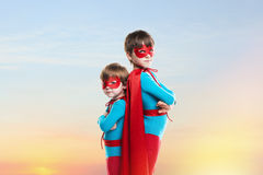 Little boys in the cloaks. Power concept. Royalty Free Stock Photo