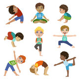 Little Boys Doing Yoga Set Royalty Free Stock Images