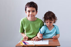 Little boys drawing together Royalty Free Stock Image