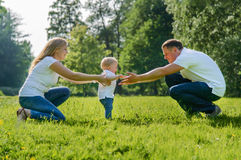 Little boys first steps Royalty Free Stock Images