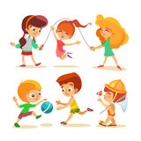 Little boys and girls playing with ball and jumping. Royalty Free Stock Photography