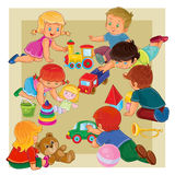 Little boys and girls sitting on the floor playing with toys vector illustration