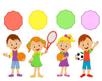 Little boys and girls, sport Stock Images