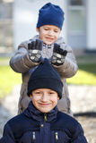 Little boys have fun at winter Royalty Free Stock Image