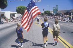 Little Boys Marching in July 4th Parade, Pacific Palisades, California Stock Photos