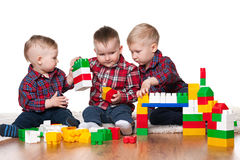 Little boys are playing with blocks Royalty Free Stock Photography