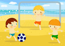 Little boys playing football on the beach. Illustration about 3 cute little boys playing soccer on the beach at seaside Royalty Free Stock Images