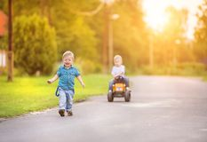 Little boys playing outside Royalty Free Stock Photo
