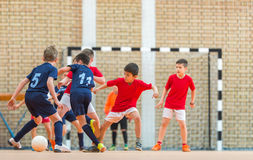 Little Boys playing soccer royalty free stock photos