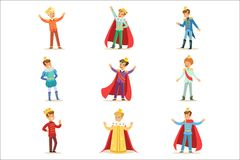Little Boys In Prince Costume With Crown And Mantle Set Of Cute Kids Dressed As Royals Illustrations vector illustration
