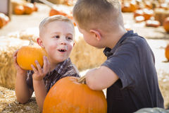 Little Boys at the Pumpkin Patch Talking and Having Fun Royalty Free Stock Image