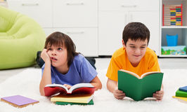 Little boys reading Royalty Free Stock Photography