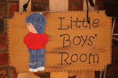 Little boys' room. A sign for the little boy's room Royalty Free Stock Images