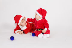 Little boys in Santa clothes Royalty Free Stock Images
