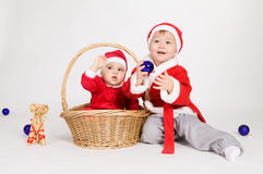 Little boys in Santa clothes Royalty Free Stock Photo