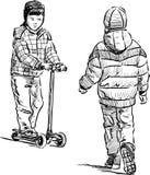 little boys on a stroll Royalty Free Stock Photos