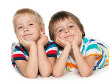 Little boys together on the white background Stock Photography