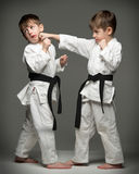 Little boys in uniform practicing judo royalty free stock images