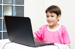 Little boys use laptop for education Royalty Free Stock Image