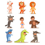 Little Boys Wearing Animal Costumes. Vector Set Stock Photos