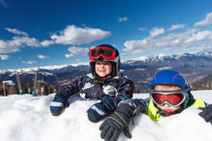 Little boys and winter fun. Royalty Free Stock Images