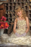 Little bride with tiara Royalty Free Stock Image