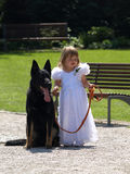 A little bridesmaid and her dog. Stock Image