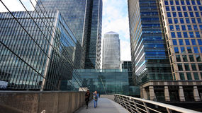 Little bridge, Canary Wharf, London. The area of Canary Wharf in East London, also named The Docklands, has been redeveloped principally for commercial and royalty free stock images