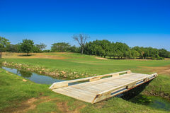 Little bridge at golf course Royalty Free Stock Photography