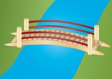 Little bridge over a creek. Illustration of a little bridge over a creek royalty free illustration