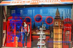 Little Britannia souvenir store window London United Kingdom. Little Britannia shop window displays selection of models of British significant buildings and Royalty Free Stock Photography